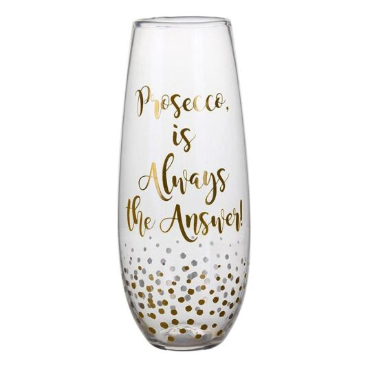 Gold Edition 'Always the Answer' Stemless Prosecco Flute
