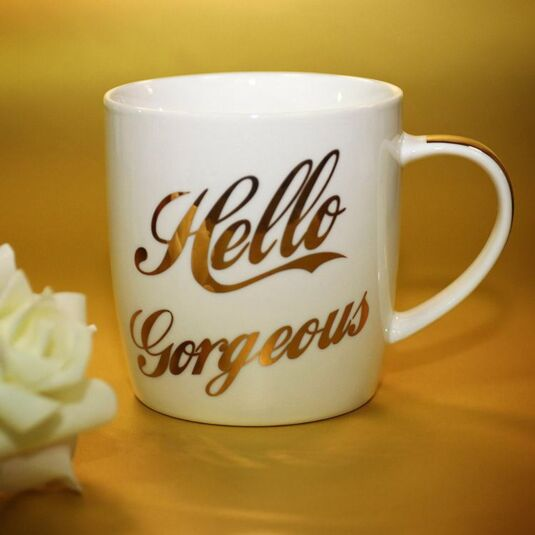 Hello Gorgeous Gold Fine China Mug