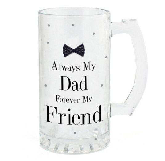 Mad Dots 'Dad' Black Tie Glass Tankard