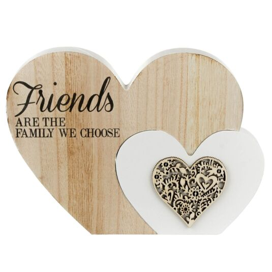 Sentiments Friends Double Wooden Heart Ornament