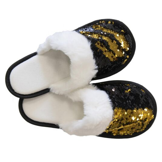 Black & Gold Sequin Slippers