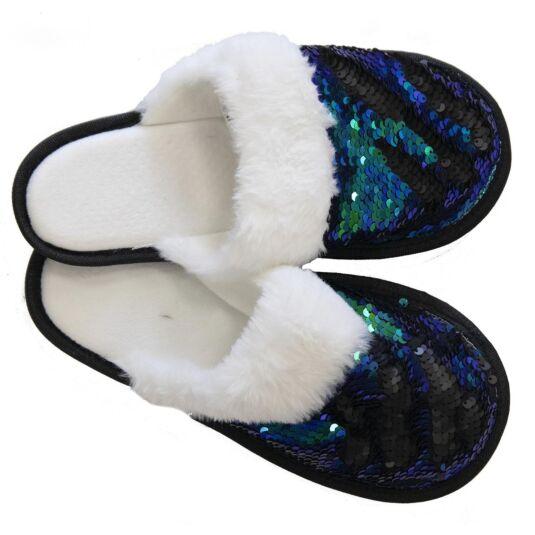 Blue & Black Sequin Slippers