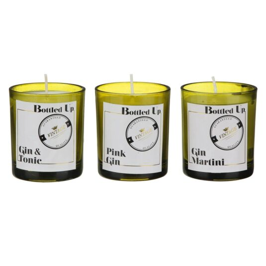 Bottled Up Gin Scented Set of 3 Candles