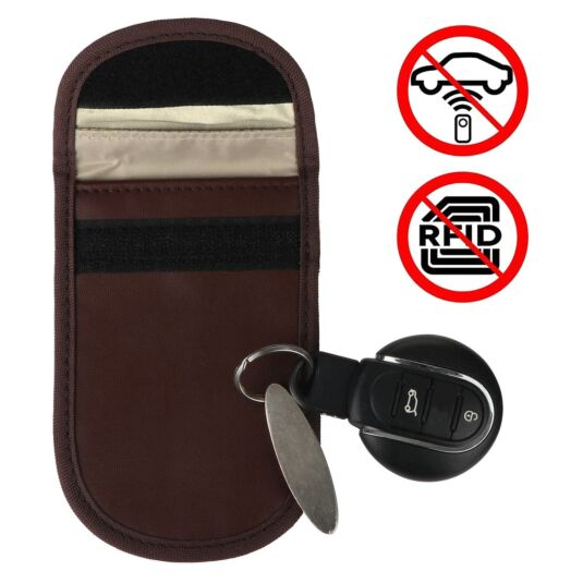 Car Key Signal Blocker Brown Pouch