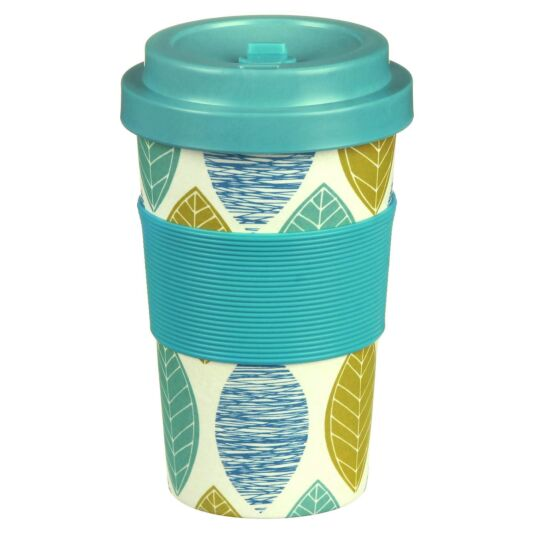 Small Floral Leaf Bamboo Travel Mug