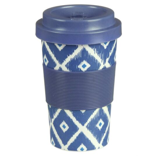 Small Geometric Blue Squares Bamboo Travel Mug