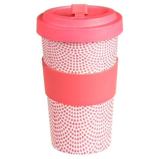 Large Geometric Pink Drops Bamboo Travel Mug