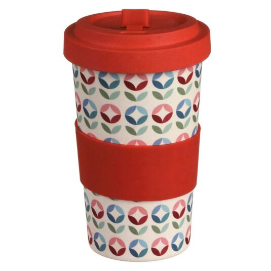 Large Geometric Flowers Bamboo Travel Mug