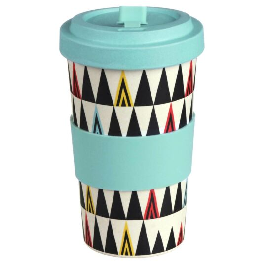 Large Patterned Triangles Bamboo Travel Mug