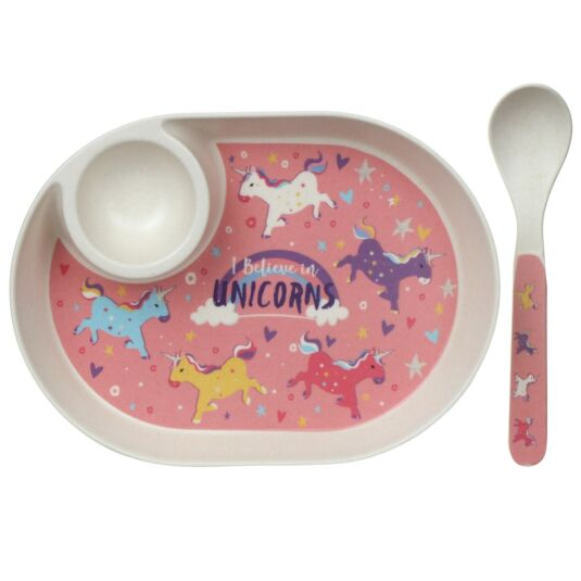 Bamboo Unicorn Egg Plate & Spoon Set