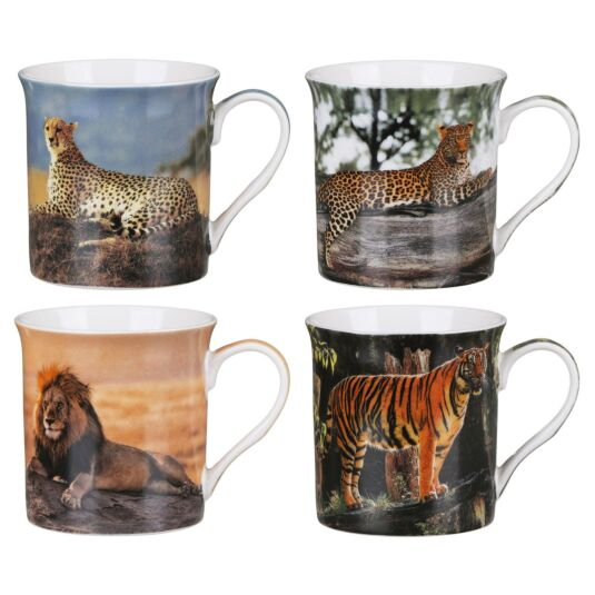 Safari Big Cats Set of 4 Mugs