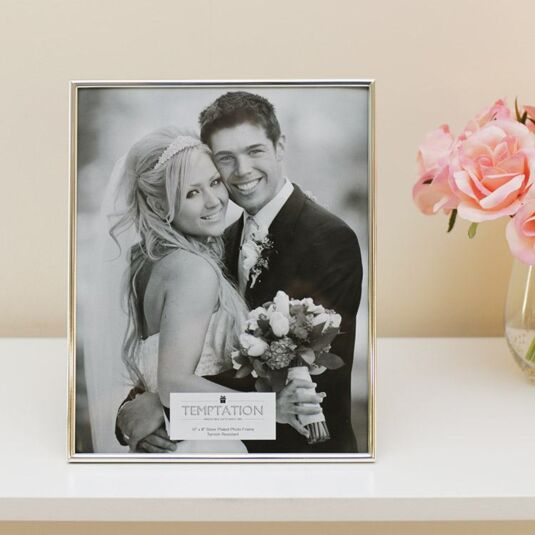 Silver Plated Narrow Edge Photo Frame 10x8