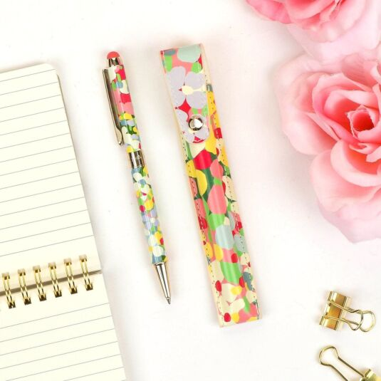 Floral Dot Stylus Pen with Pouch