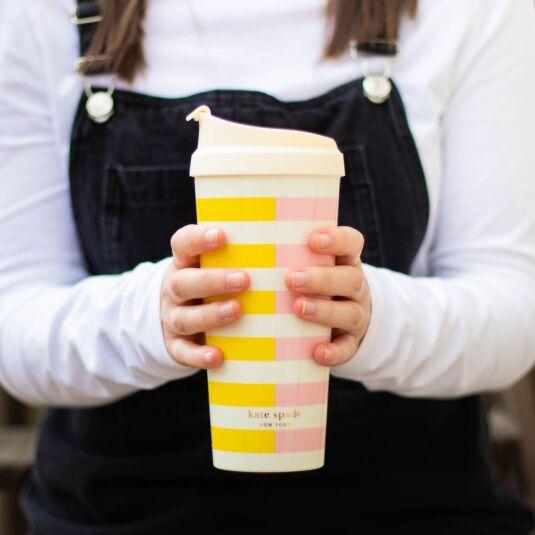 Lemon and Pink Half Stripe Thermal Mug
