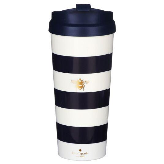 Navy Stripe Thermal Travel Mug