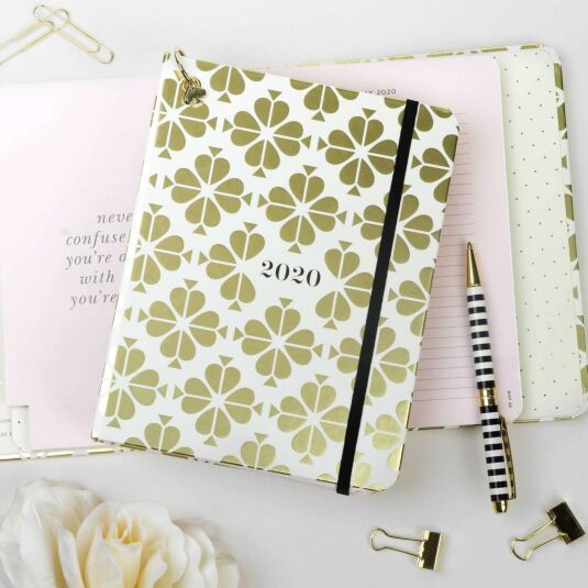 Gold Spade Flower 2020 Medium Concealed Spiral Planner