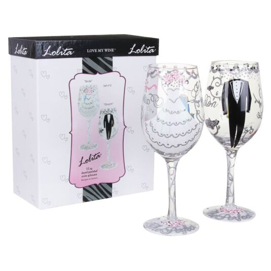 Lolita Bride & Groom Wine Glass Wedding Gift Set Campus Gifts