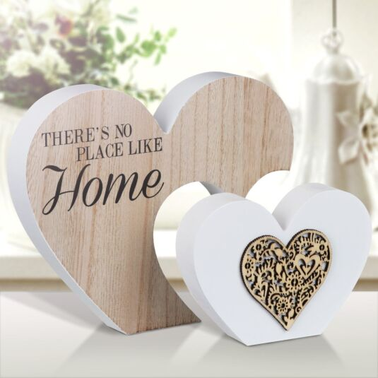 Sentiments Home Double Wooden Heart Ornament