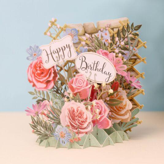Me McQ Happy Birthday Flowers 3D Card