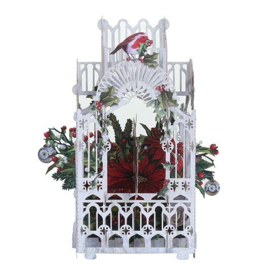 Poinsettia and Robin 3D Christmas Card