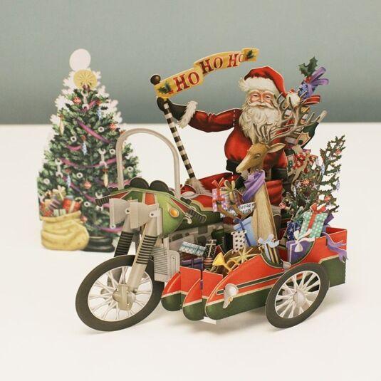 'Santa's Hog' 3D Christmas Card