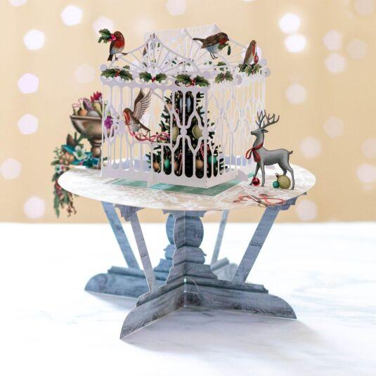 'Robins Table' Pop Up Christmas Card