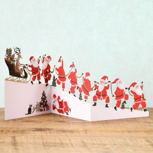 Santa Power Zig Zag 3D Christmas Card