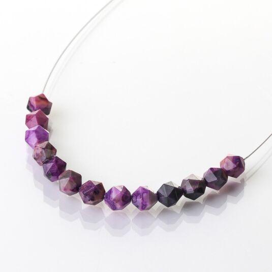 Violet Faceted Agate Links Necklace