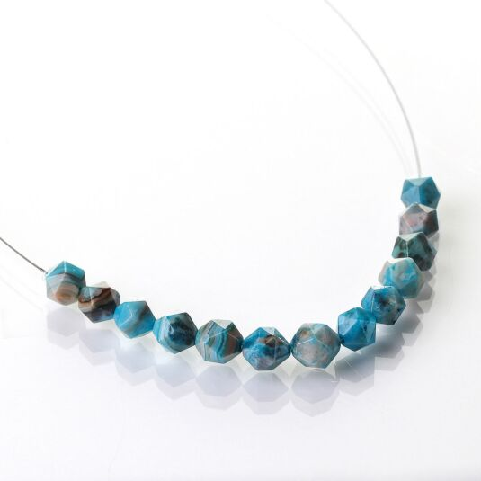 Azure Faceted Agate Links Necklace