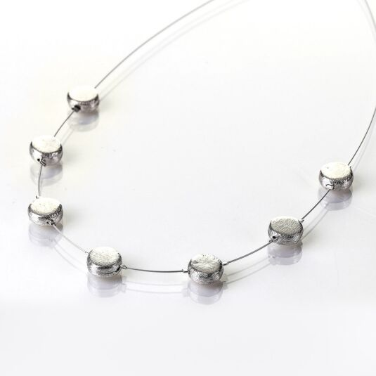 Brushed Silver Discs Necklace