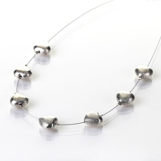 Brushed Silver Hearts Necklace