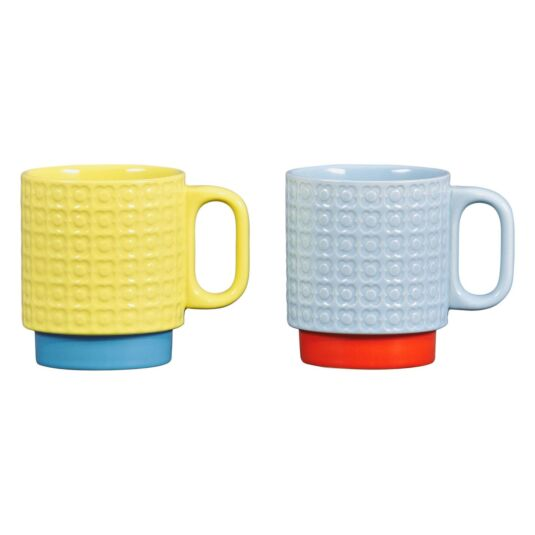 Pressed Flower Yellow/Blue Set of 2 Mugs