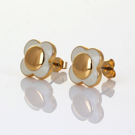 Gold-Plated Cream Flower Spot Earrings