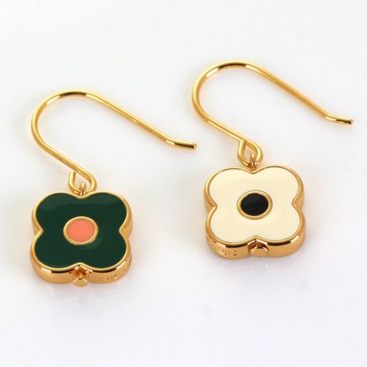 Gold-Plated Flower Spot Abacus Earrings