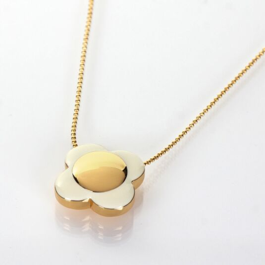 Gold-Plated Cream Flower Spot Necklace