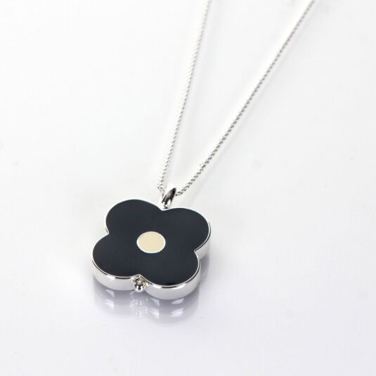 Sterling Silver-Plated Flower Spot Abacus Necklace