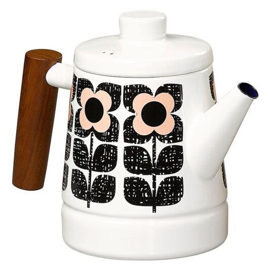 Textured Square Flower Enamel Teapot