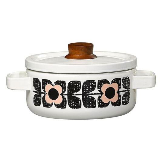 Textured Square Flower Enamel Casserole Pot