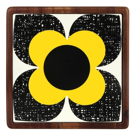 Primrose Flower Ceramic and Wood Trivet