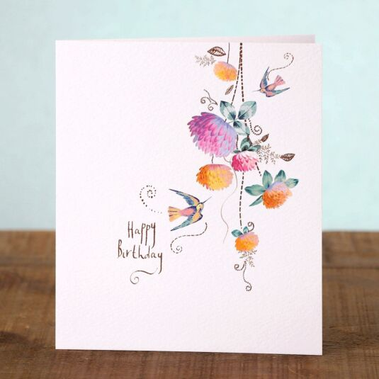 Lemon Sorbet Humming Birds Birthday Card