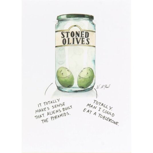 Colourful Mind Stoned Olives Greetings Card