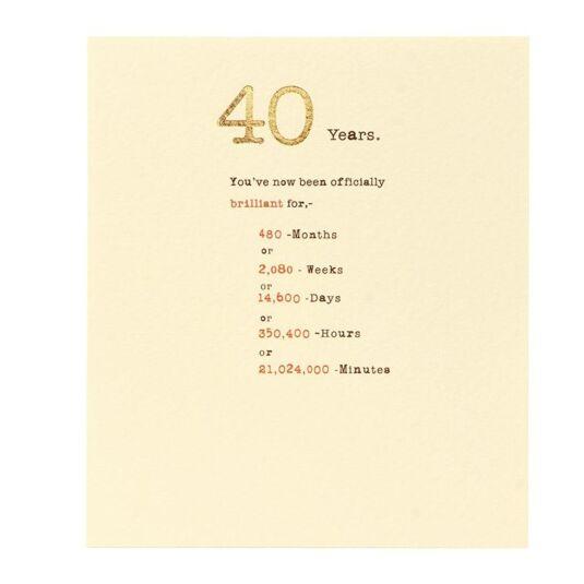 Sum it Up 40th Birthday Card