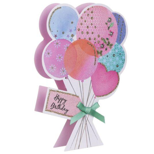 'Happy Birthday' Balloons 3D Card