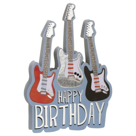 Happy Birthday Electric Guitars 3D Card