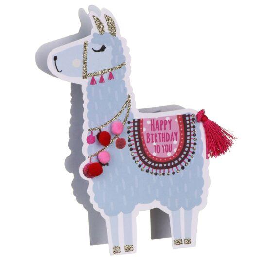 'Happy Birthday' Llama 3D Card