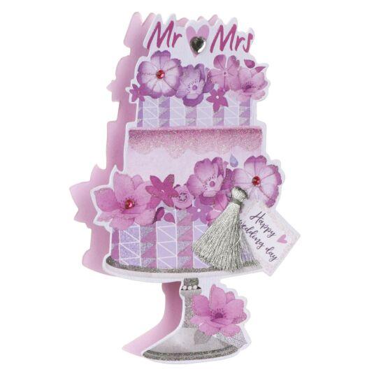 'Mr & Mrs' Wedding Cake 3D Card
