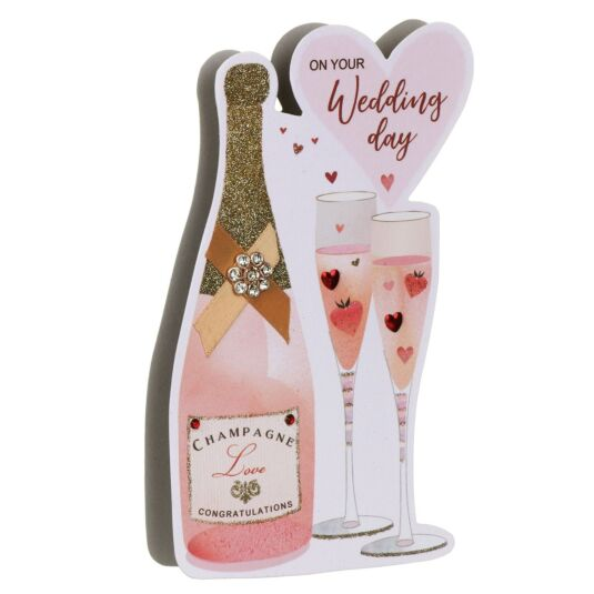 'Wedding Day' Champagne 3D Card
