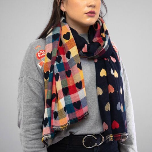 Navy Hearts Double Sided Scarf