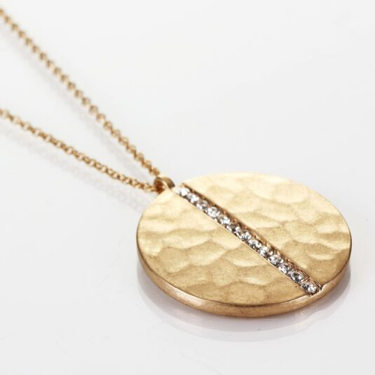 Large Beaten Gold Plated Medallion Necklace