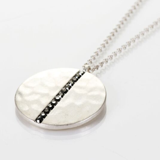 Large Beaten Silver Plated Medallion Necklace